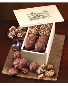 Wooden Collector's Box with English Butter Toffee & Pecan Turtles