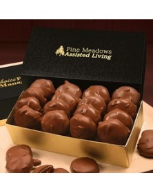 Gold & Black Gift Boxes with Pecan Turtles