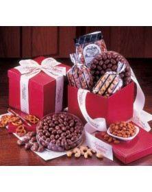Red Gift Boxes with Holiday Treasures