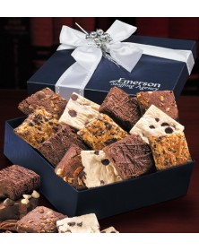 Navy Gift Box with Gourmet Brownie Assortment