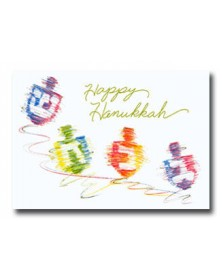 Hanukkah - Spinning Dreidels  (YM07F3K-12) - Religious  - Holiday Cards | Printez.com