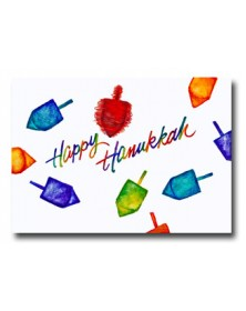 Hanukkah - Colorful Dreidels (YM07F3F-13) - Religious  - Holiday Cards | Printez.com