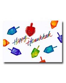 Hanukkah - Colorful Dreidels (YM07F3F-13) - Religious  - Holiday Cards | Printez.com