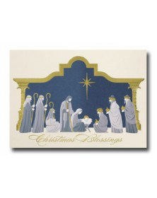 Gilded Manger  (YMM70414-32) - Religious  - Holiday Cards   Printez.com