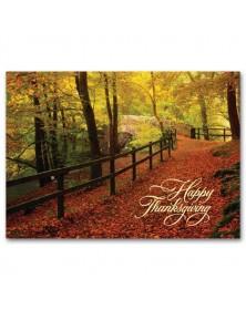 Leaf-Strewn Lane Thanksgiving Cards