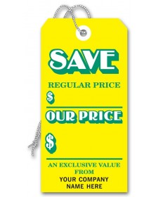 Large Yellow Tags Stock