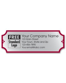 Customized Rectangular Poly Labels in Silver/Red Design