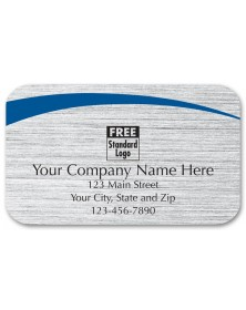 Rectangular Brushed Silver Advertising Label