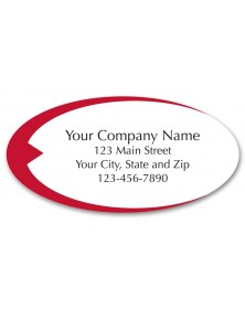 Preprinted Poly Labels with Red Swish Design