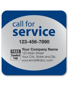Call for Service Label on Silver Poly Top & Bottom Navy Trim