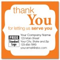 Static Cling 'Thank You' Label w/Orange Trim 2.5x2.5