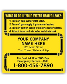 Water Heater Label with Pipe Design