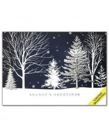 Winter Blue Treeline Holiday Cards