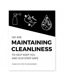"Maintaining Cleanliness Poster 11"" x 17"" Black Pack of 6"