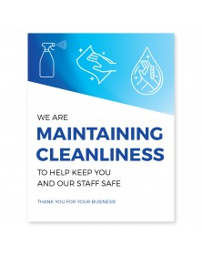 "Maintaining Cleanliness Poster 11"" x 17"" Blue Pack of 6"