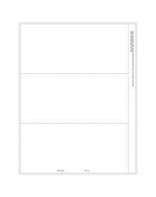 Laser 1099 NEC 3Up Blank Copy B Backer Cut Sheet with Stub