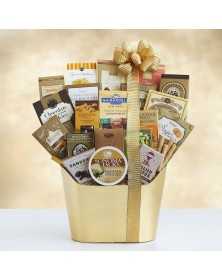 Golden Holiday Gourmet Food Gift Basket