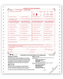 Continuous W-3C Tax Forms - Transmittal Of Corrected Wage & Tax Statements