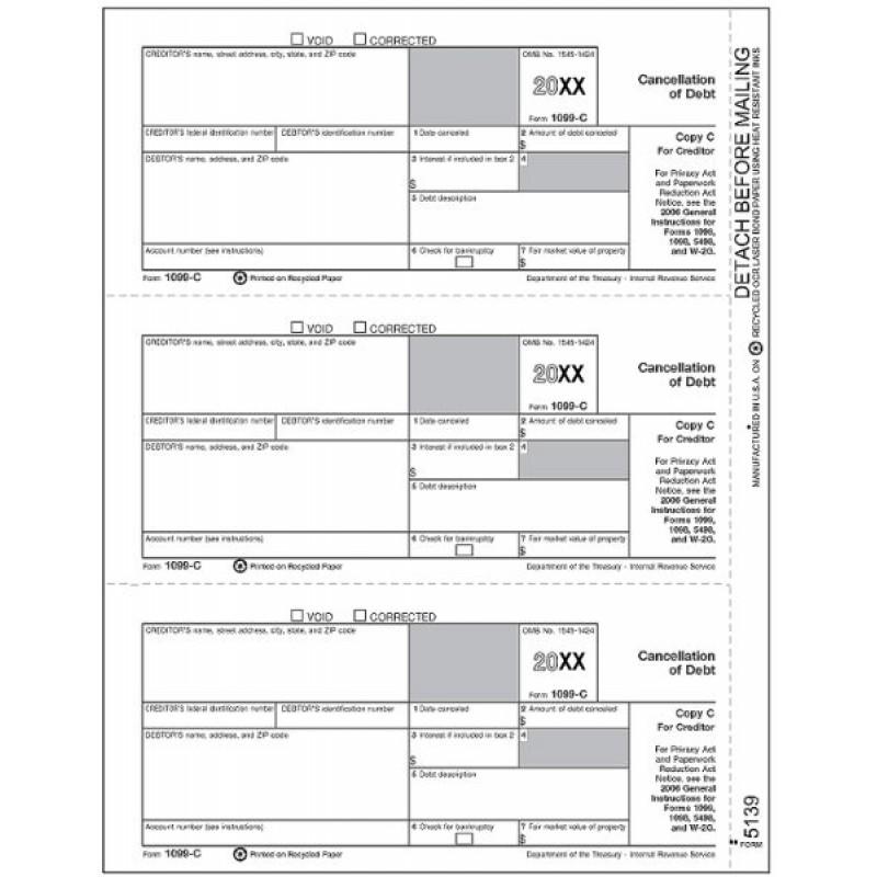 Laser 1099-C Tax Forms Copy C