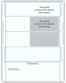 Blank Laser 4-Up W-2 Tax Forms - Horizontal, Self-Mailer