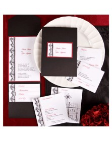Regal Flourishes Black Pocket with Claret Backer (FBN9926CLL15-73) - Select By Budget  - Wedding Invitations | Printez.com