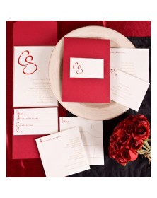 Captivating Capsule with Claret Pocket and Gold Backer in Ecru (FBN9035GDL6-70) - Select By Budget  - Wedding Invitations | Printez.com