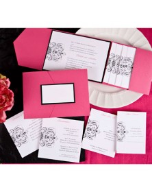 Avant-garde Fuchsia Pocket with Black Backer (FBN9107BKL5-73) - Select By Budget  - Wedding Invitations | Printez.com