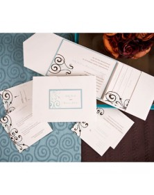 Chocolate Lagoon with Ecru Pocket and Teal Backer (FBN9351AHL12-70) - Select By Budget  - Wedding Invitations | Printez.com