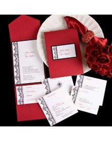 Regal Flourishes Claret Pocket with Black Backer (FBN9034BKL15-73) - Select By Budget  - Wedding Invitations | Printez.com