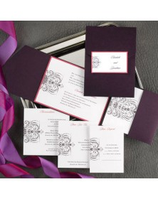 Avant-garde Raisin Pocket with Fuchsia Shimmer (FBN1070FSL5-73) - Select By Budget  - Wedding Invitations | Printez.com