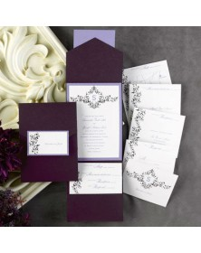 Elegant Floral White and Raisin Pocket with Lavender Backer (FBN1070LVL21-73) - Select By Budget  - Wedding Invitations | Printez.com