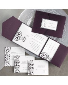 Elegantly Designed Raisin Pocket with Pewter (FBN1070PTL12-73) - Select By Budget  - Wedding Invitations | Printez.com