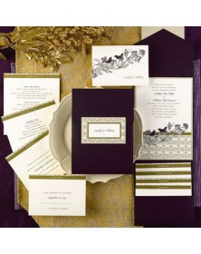 Sweet Songs Ecru Invitation in Raisin Pocket (FBN3069GDL31-70) - Select By Budget  - Wedding Invitations | Printez.com