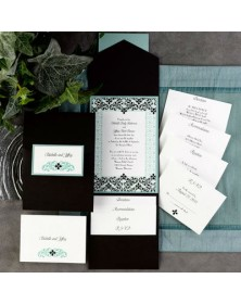 Beautiful Filigree White and Black Pocket with Aqua Backer in Lagoon (FBN9926AHL29-73) - Select By Budget  - Wedding Invitations | Printez.com