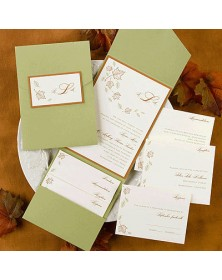 Autumn Breeze with Olive Pocket and Spice Backer (FBN9042SPL19-70) - Select By Budget  - Wedding Invitations | Printez.com