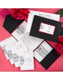Avant-garde Fuchsia and Black Pocket (FBN9926HTL5-73) - Select By Budget  - Wedding Invitations | Printez.com