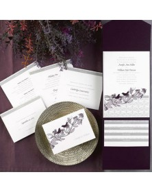 Sweet Songs White Invitation in Raisin Pocket (FBN1070WSL31-73) - Select By Budget  - Wedding Invitations | Printez.com