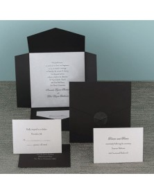 Black Self-Mailer with Silver Shimmer Card (WAN9735) - Other Invitations  - Wedding Invitations | Printez.com
