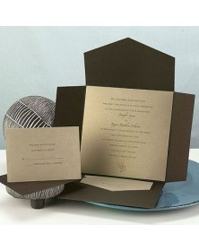 Chocolate Mailer with Gold Shimmer Card (WAN9659) - Other Invitations  - Wedding Invitations | Printez.com