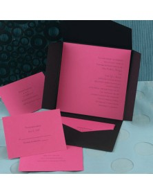 Black Self-Mailer with a Fuchsia Card (WAN9585) - Other Invitations  - Wedding Invitations | Printez.com
