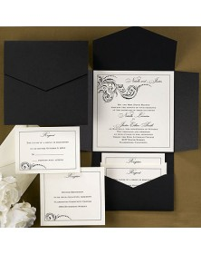 Black and Ecru Pocket (WRN9377-92) - Select By Budget  - Wedding Invitations | Printez.com