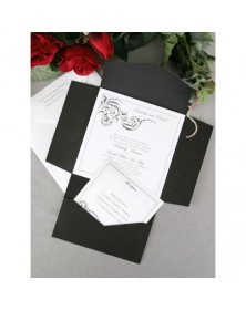 Black and White Pocket (WRN9685-96) - Select By Budget  - Wedding Invitations | Printez.com