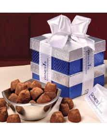 Rombe Silver Bowl Gifts with Rombe™ Four-Point Bowl with Cocoa Dusted Truffles