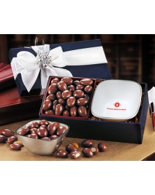 Rombe Silver Bowl Gifts with Rombe™ Four-Corner Bowl with Chocolate Covered Almonds