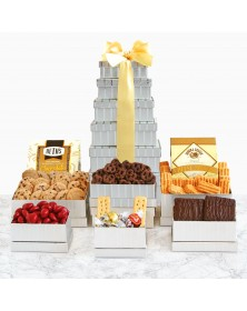 Shimmering Gourmet Food Gift Tower