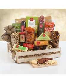 Deluxe Meat & Cheese Wooden Food Gift Crate