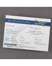 Airplane Boarding Pass - Invitation - Bright White