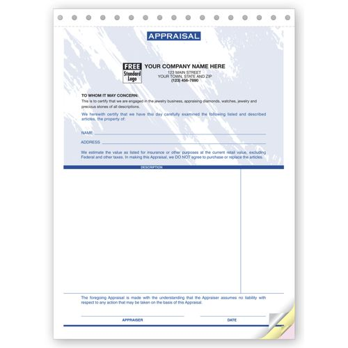 Carbonless Jewelry Appraisal Forms