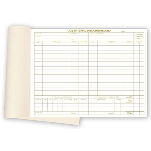 Material & Labor Business Forms