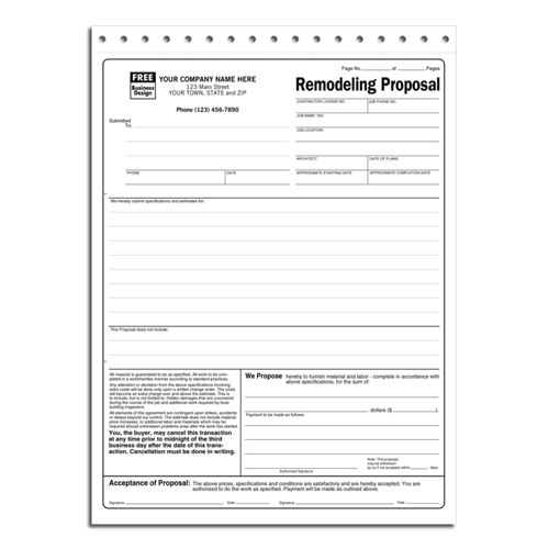 Specific Remodeling Proposal Forms